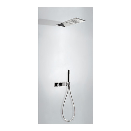 Tres Cuadro Exclusive Zestaw prysznicowy podtynkowy z baterią termostatyczną i z pokrętłem, czarny/chrom 207.252.02.NE
