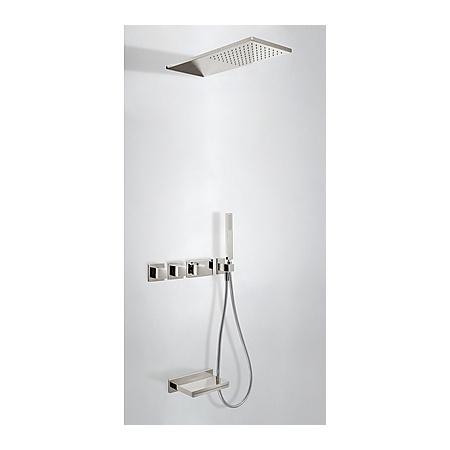 Tres Espacio Zestaw prysznicowy termostatyczną kaskadową wylewką i deszczownicą stalowy 207.253.05.AC