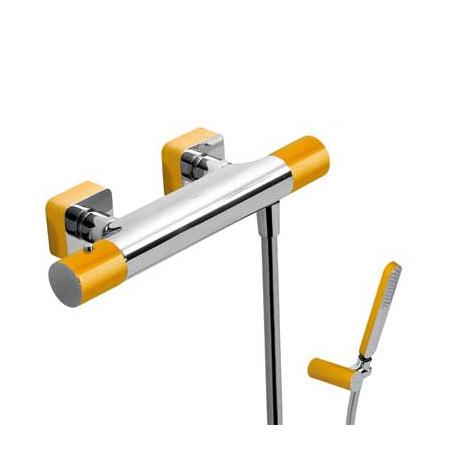 Tres Loft-Colors Bateria prysznicowa termostatyczna natynkowa z pokrętłem, żółta, bursztynowa 200.164.09.AM