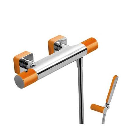Tres Loft-Colors Bateria prysznicowa termostatyczna natynkowa z pokrętłem, pomarańczowa 200.164.09.NA