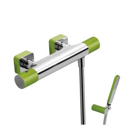 Tres Loft-Colors Bateria prysznicowa termostatyczna natynkowa z pokrętłem, zielona 200.164.09.VE