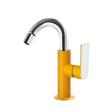 Tres Loft-Colors Jednouchwytowa bateria bidetowa stojąca z dźwignią, żółta bursztynowa 200.224.01.AM.D