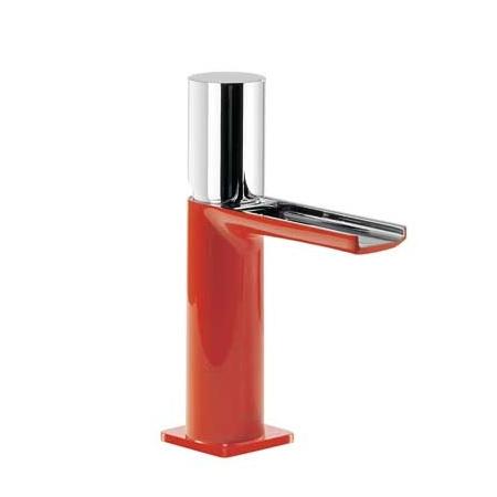 Tres Loft-Colors Jednouchwytowa bateria umywalkowa stojąca z pokrętłem z kaskadową wylewką, czerwona 200.110.02.RO.D