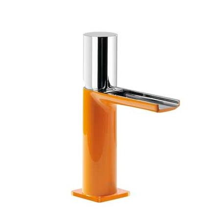 Tres Loft-Colors Jednouchwytowa bateria umywalkowa stojąca z pokrętłem z kaskadową wylewką, pomarańczowa 200.110.02.NA.D