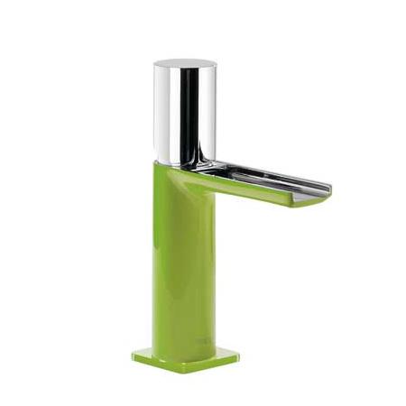 Tres Loft-Colors Jednouchwytowa bateria umywalkowa stojąca z kaskadową wylewką i pokrętłem, zielona 200.110.02.VE.D