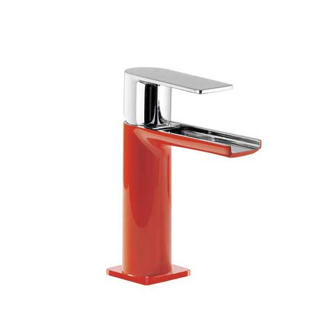 Tres Loft-Colors Jednouchwytowa bateria umywalkowa stojąca z dźwignią i z kaskadową wylewką, czerwona 200.110.01.RO.D