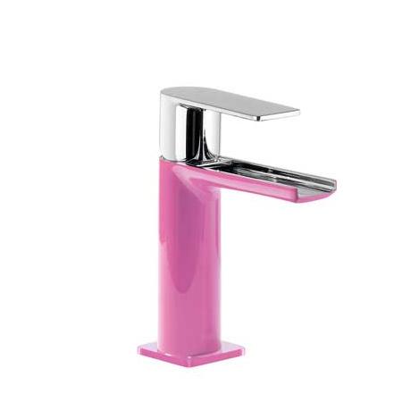 Tres Loft-Colors Jednouchwytowa bateria umywalkowa stojąca z dźwignią i z kaskadową wylewką, różowa fuksja 200.110.01.FU.D