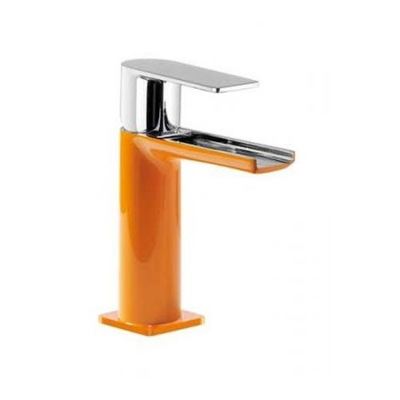Tres Loft-Colors Jednouchwytowa bateria umywalkowa stojąca z dźwignią i z kaskadową wylewką, pomarańczowa 200.110.01.NA.D