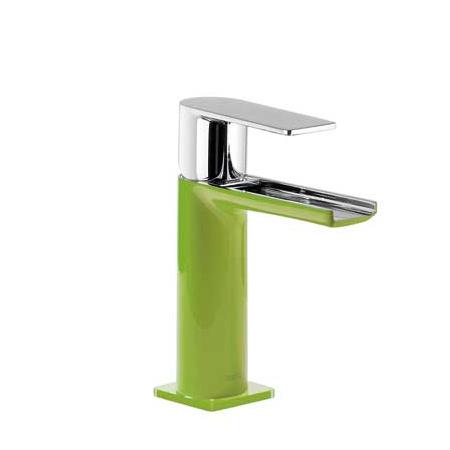 Tres Loft-Colors Jednouchwytowa bateria umywalkowa stojąca z kaskadową wylewką i dźwignią, zielona 200.110.01.VE.D