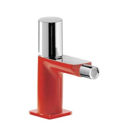 Tres Loft-Colors Jednouchwytowa bateria bidetowa stojąca z pokrętłem, czerwona 200.120.02.RO.D