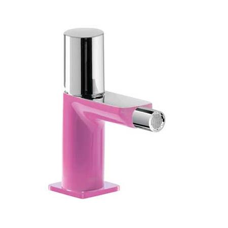 Tres Loft-Colors Jednouchwytowa bateria bidetowa stojąca z pokrętłem, różowa fuksja 200.120.02.FU.D