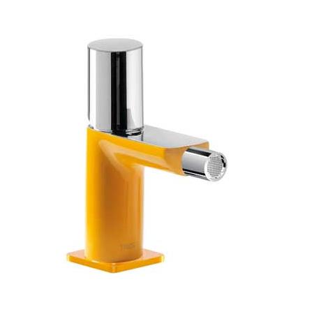 Tres Loft-Colors Jednouchwytowa bateria bidetowa stojąca z pokrętłem, żółta bursztynowa 200.120.02.AM.D