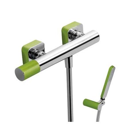 Tres Loft-Colors Jednouchwytowa bateria prysznicowa natynkowa z pokrętłem, zielona 200.167.01.VE