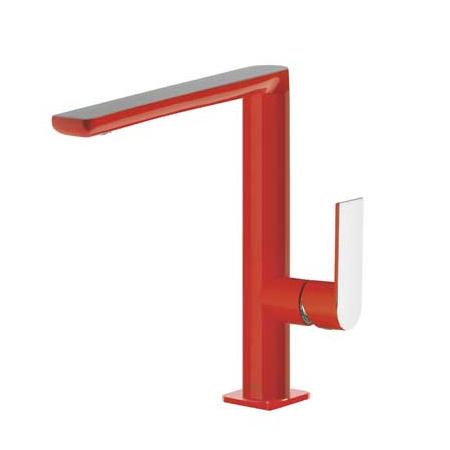 Tres Loft-Colors Jednouchwytowa bateria umywalkowa stojąca z dźwignią, czerwona 200.205.02.RO.D