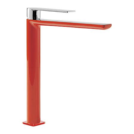 Tres Loft-Colors Jednouchwytowa bateria umywalkowa stojąca z dźwignią i przedłużką, czerwona 200.203.05.RO.D