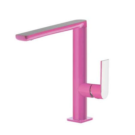 Tres Loft-Colors Jednouchwytowa bateria umywalkowa stojąca z dźwignią, różowa fuksja 200.205.02.FU.D