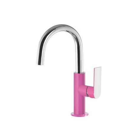 Tres Loft-Colors Jednouchwytowa bateria umywalkowa stojąca z dźwignią, różowa fuksja 200.205.04.FU.D
