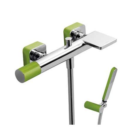 Tres Loft-Colors Jednouchwytowa bateria wannowa natynkowa z pokrętłem i kaskadową wylewką, zielona 200.170.01.VE
