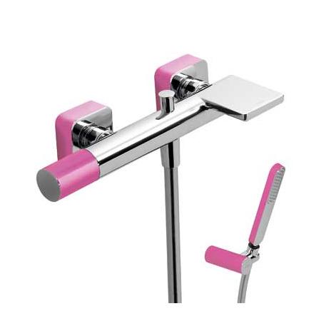 Tres Loft-Colors Jednouchwytowa bateria wannowo-prysznicowa natynkowa z pokrętłem z kaskadową wylewką, różowa fuksja 200.170.01.FU