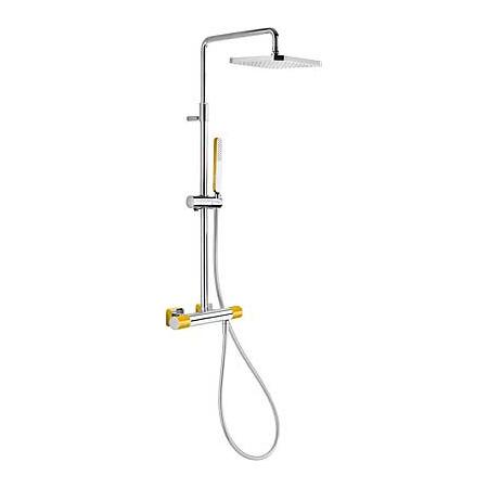 Tres Loft-Colors Zestaw prysznicowy z baterią termostatyczną i deszczownicą, żółty bursztynowy 200.195.01.AM