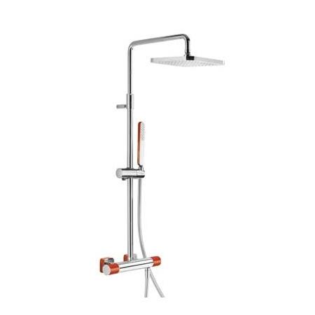 Tres Loft-Colors Zestaw prysznicowy natynkowy z baterią termostatyczną i deszczownicą, chrom/czerwony 200.195.01.RO