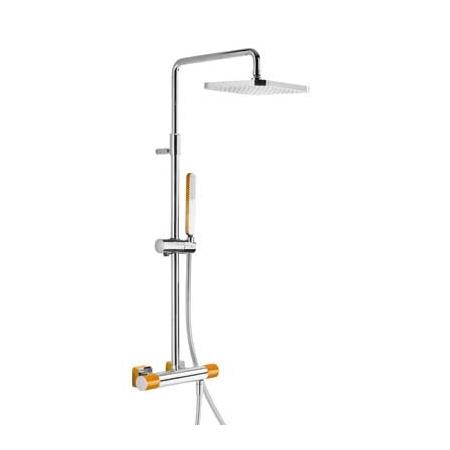 Tres Loft-Colors Zestaw prysznicowy z baterią termostatyczną i deszczownicą, pomarańczowy 200.195.01.NA