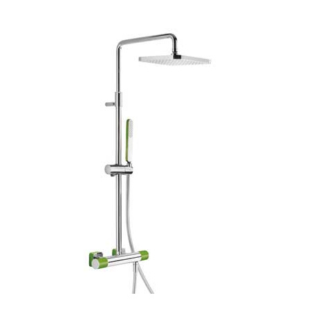 Tres Loft-Colors Zestaw prysznicowy z baterią termostatyczną i deszczownicą, zielona 200.195.01.VE