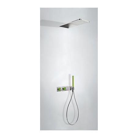 Tres Loft-Colors Zestaw prysznicowy natynkowy elektroniczny natynkowy z baterią termostatyczną i z deszczownicą, zielony 207.352.02.VE