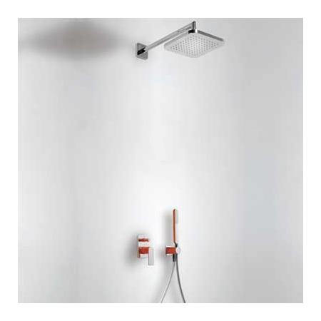 Tres Loft-Colors Zestaw prysznicowy z baterią podtynkową i deszczownicą, czerwony 200.180.02.RO