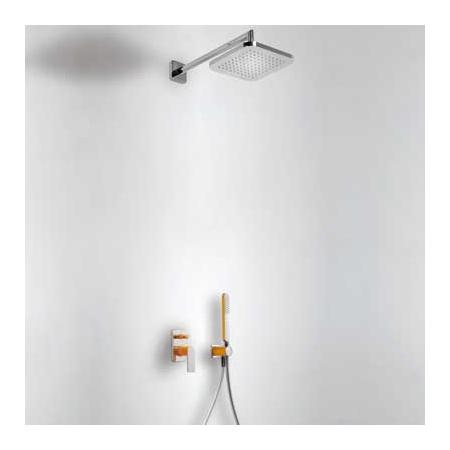 Tres Loft-Colors Zestaw prysznicowy z baterią podtynkową i deszczownicą, pomarańczowy 200.180.02.NA