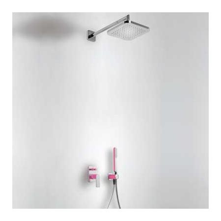 Tres Loft-Colors Zestaw prysznicowy z baterią podtynkową i deszczownicą, różowy fuksja 200.180.02.FU