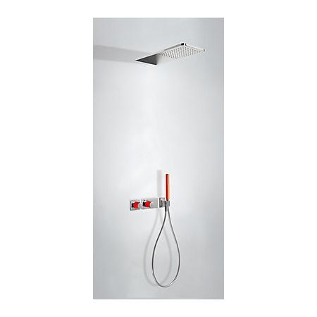 Tres Loft-Colors Zestaw prysznicowy z baterią termostatyczną i deszczownicą, czerwony 207.352.02.RO