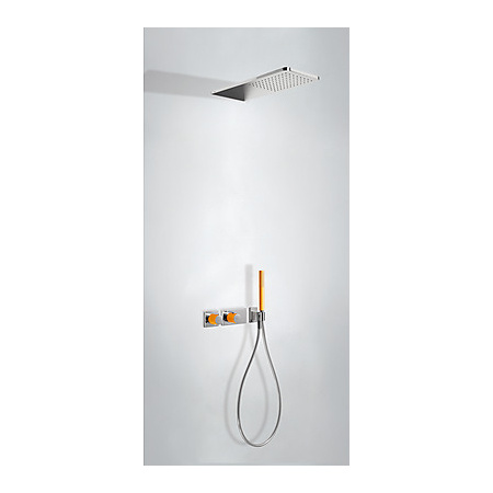 Tres Loft-Colors Zestaw prysznicowy z baterią termostatyczną i deszczownicą, pomarańczowy 207.352.02.NA