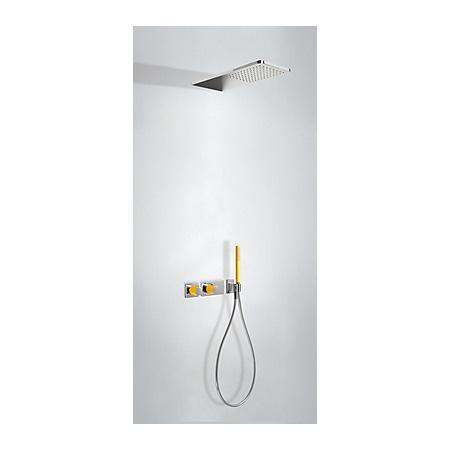 Tres Loft-Colors Zestaw prysznicowy z baterią termostatyczną i deszczownicą, żółty bursztynowy 207.352.02.AM