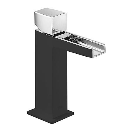 Tres Slim Exclusive Jednouchwytowa bateria umywalkowa stojąca z pokrętłem z kaskadową wylewką, czarna-chrom 202.110.02.NE.D