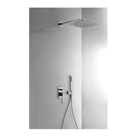 Tres Slim Exclusive Zestaw prysznicowy z baterią podtynkową i deszczownicą, czarny-chrom 202.180.06.NE