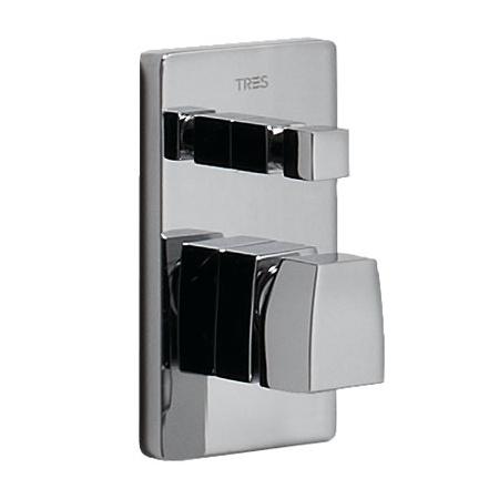 Tres Slim-Tres Jednouchwytowa bateria wannowo-prysznicowa podtynkowa z pokrętłem, chrom 202.180.02