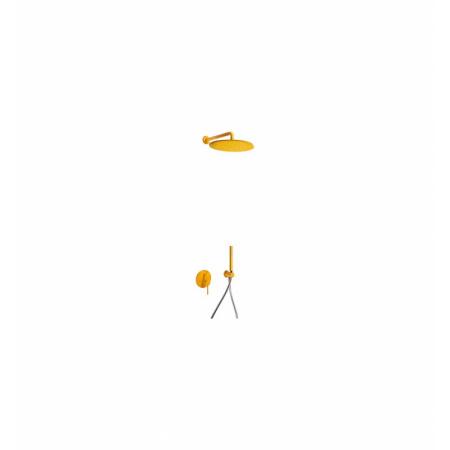 Tres Study-Colors Zestaw prysznicowy z baterią podtynkową i deszczownicą, żółty bursztynowy 262.980.91.TA.M