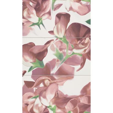 Tubądzin Colour Carmine Bloom Dekor ścienny 3-elementowy 59,3x98,5x0,8 cm, zielony, różowy, biały, połysk TUBDSCOLCARBLOCAR59398508
