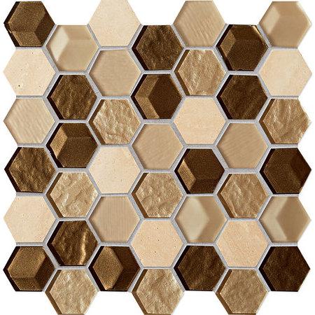 Tubądzin Elements Drops stone brown hex Mozaika ścienna 30x29,8x0,6 cm, brązowa mat, połyskTUBMSELEDROSTOBROHEX3029806