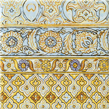 Tubądzin Majolika intense C Dekor ścienny 20x20x0,65 cm, niebieski, żółty, fioletowy, połysk TUBDSMAJINTC2020065