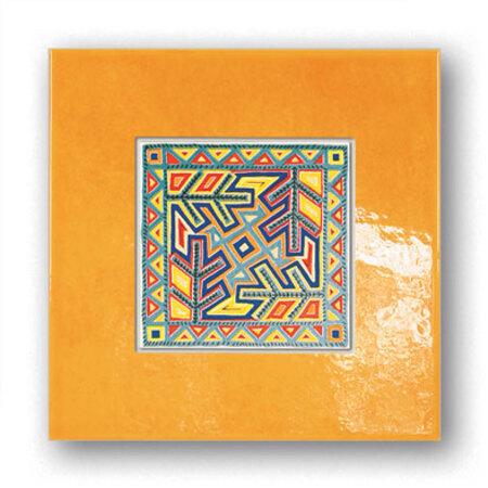 Tubądzin Majolika Pueblo 12 Dekor ścienny 20x20x0,65 cm, biały, pomarańczowy, niebieski, żółty, połysk TUBDSMAJPUE122020065