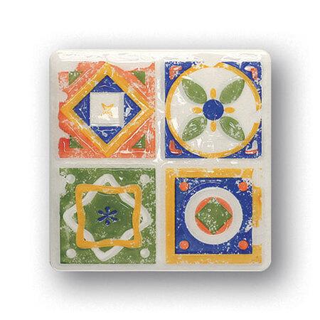 Tubądzin Majolika Quartet 1 Dekor ścienny 11,5x11,5x0,8 cm, zielony, niebieski, żółty, biały, pomarańczowy, połysk TUBDSMAJQUA111511508
