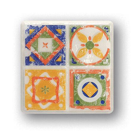Tubądzin Majolika Quartet 2 Dekor ścienny 11,5x11,5x0,8 cm, zielony, niebieski, żółty, biały, pomarańczowy, połysk TUBDSMAJQUA211511508