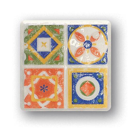 Tubądzin Majolika Quartet 3 Dekor ścienny 11,5x11,5x0,8 cm, zielony, niebieski, żółty, biały, pomarańczowy, połysk TUBDSMAJQUA311511508