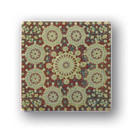 Tubądzin Majolika Rotundo 1 Dekor ścienny 11,5x11,5x0,8 cm, bordowy, zielony, połysk TUBDSMAJROT111511508