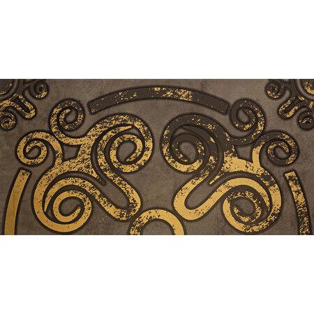 Tubądzin Palacio ornament Dekor ścienny 59,8x29,8x1 cm, brązowy, złoty mat, połysk TUBDSPAL5982981