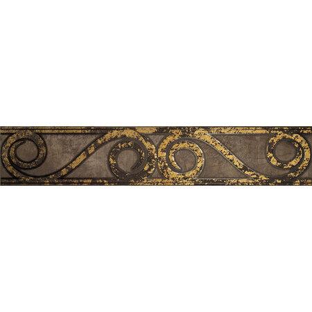 Tubądzin Palacio ornament Listwa ścienna 59,8x11,5x1 cm, brązowa, złoty mat, połysk TUBLSPAL5981151
