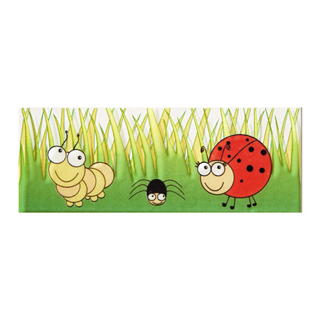 Tubądzin Pastel Robaczki 1 Listwa ścienna 20x7,4x0,7 cm, niebieska, żółta, czerwona, zielona, czarna, biała, połysk TUBLSPASROB1207407