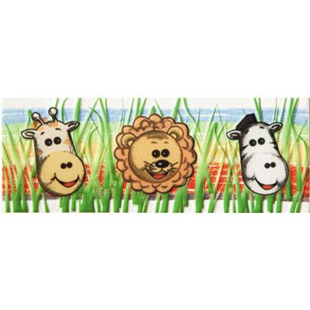 Tubądzin Pastel Safari 1 Listwa ścienna 20x7,4x0,7 cm, niebieska, czarna, żółta, zielona, biała, połysk TUBLSPASSAF1207407
